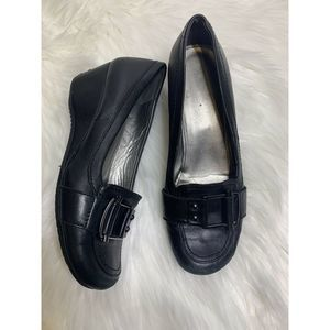 MARC FISHER Loafer Wedge Shoe Size 8 Black Buckle